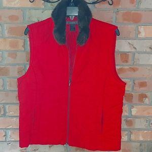 Liz Claiborne quilted vest with faux fur collar.